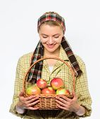 Harvesting Time Concept. Lady Farmer Or Gardener Proud Of Her Harvest. Woman Cheerful Carry Basket W poster