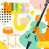 Music Colorful Background Flat Vector Illustration. Artistic Music Festival Poster, Live Concert, Li poster