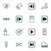 Multimedia Icons Set With Piano, Mike, Previous Music And Other Skip Song Elements. Isolated  Illust poster