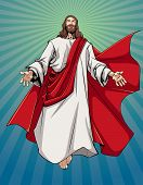 Illustration Of Jesus Christ Greeting You With Open Arms. poster