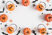 Halloween Decorations On Pastel Gray Background. Halloween Concept. Flat Lay, Top View, Copy Space poster