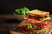 Close-up Of Delicious Sandwich With Salami, Cheese And Fresh Vegetables On Rustic Wooden Cutting Boa poster