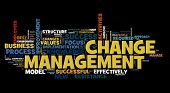 pic of change management  - Change management concept in word cloud on black - JPG