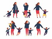 Tired Exhausted Mother With Naughty Kids. Parents With Children. Vector Illustration poster