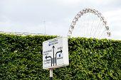 Paris Street Sign With Trocadero, Concorde Directions And Grande Roue De Paris Ferris Wheel poster