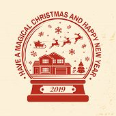 Have A Magical Christmas And Happy New Year Stamp, Sticker Set With Snowflakes, Christmas Snow Globe poster