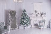 Decorated Christmas Tree And Gift Boxes In Living Room.large White Living Room With A Vintage Furnit poster