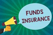 Word Writing Text Funds Insurance. Business Concept For Form Of Collective Investment Offered An Ass poster