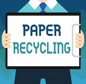 Handwriting Text Paper Recycling. Concept Meaning Using The Waste Papers In A New Way By Recycling T poster