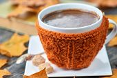 Hot Steaming Cup Of Coffee. Wool Cloth Mug. Autumn Fall Leaves. poster