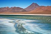 Постер, плакат: Алмаз лагуны в пустыне Атакама Чили фокус на льду трещины