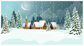 Snowy Winter Landscape With Cottages And Fir-trees Vector Illustration. Night Country Scene. Christm poster