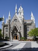 The Salt Lake Assembly Hall is a Victorian Gothic congregation hall. Rough granite walls are laid ou