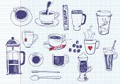 picture of frappe  - big vector set of coffee and tea - JPG