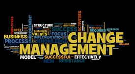 foto of change management  - Change management concept in word cloud on black - JPG