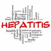 image of hepatitis  - Hepatitis Word Cloud Concept in red and black letters with great terms such as liver doctors virus type b viral symptoms and more - JPG