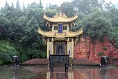 pic of emei  - Drum tower near the rock in Emei Shan China
