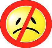 foto of sad faces  - a sign with the no symbol and a sad face behind it - JPG