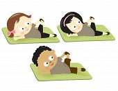 stock photo of obesity children  - Illustration of cute kids exercising on mats - JPG