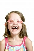 foto of crooked teeth  - little girl with goggles on and crooked gap teeth - JPG