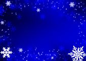 stock photo of weihnacht  - christmas background dark blue with many snowflakes - JPG