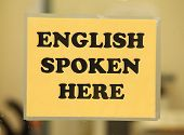 English Spoken here (english class sign)