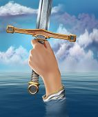 stock photo of arthurian  - Illustration of the raising of Excalibur from the depths of the Lake - JPG