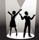 foto of person silhouette  - Business people raise their arms in celebratrion or welcome in the spotlight on stage - JPG