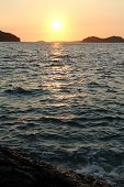 foto of luka  - Rock sea and sunset in Vala Luka Croatia - JPG