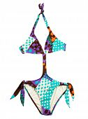 pic of monokini  - Halter multicolor polka dots monokini isolated on white background - JPG