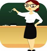 image of fail job  - A well dressed teacher stands in a classroom and writes on the blackboard with a piece of chalk - JPG