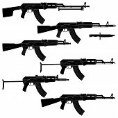 stock photo of ak47  - Layered vector illustration of collected Assault rifles - JPG