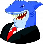 picture of loan-shark  - Vector illustration of Business shark cartoon isolated on white background - JPG