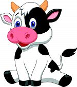 pic of moo-cow  - Vector illustration of Cute cow cartoon sitting - JPG