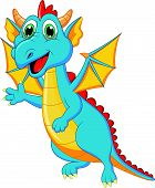 pic of dragon head  - Vector illustration of Cute dragon cartoon isolated on white background - JPG