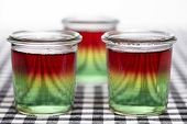 foto of jello  - Traffic light jello made of three layers jello - JPG