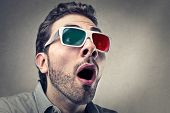 image of amaze  - portrait of amazed man with 3d glasses - JPG