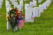 foto of headstones  - Arlington National Cemetery during Memorial day  - JPG