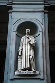 stock photo of cartographer  - Statue of Nicollo Macchiavelli the famous Italian historian politician diplomat philosopher humanist and writer in Uffizi Gallery Florence Italy - JPG