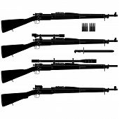 stock photo of assault-rifle  - Layered vector illustration of antique American Rifle - JPG