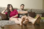 image of couch potato  - Tv boring couple - JPG
