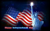 pic of independent woman  - illustration of Statue of Liberty on American flag background for Independence Day - JPG