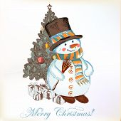 picture of snowman  - Christmas vector hand drawn card in sketch style with snowman and cute Christmas tree - JPG