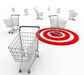 A red bullseye targets one unique customer out of several consumers so a company or business can ide