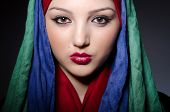 pic of burka  - Muslim woman with headscarf in fashion concept - JPG