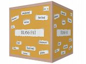 pic of trans  - Trans Fat 3D Cube Corkboard Word Concept with great terms such as fatty oils grams and more - JPG