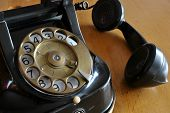 foto of old post office  - an old black telephone receiver with jerky - JPG