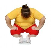 picture of horrifying  - overweight women sitting on scales isolated on white - JPG