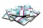 million rubles - heap of bills in packs of Russian
