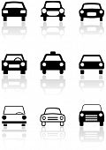 Vector set of different car symbols. All vector objects are isolated. Colors and transparent backgro